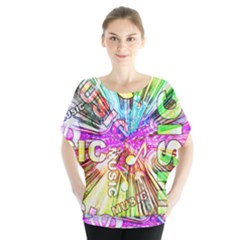 Music Abstract Sound Colorful Batwing Chiffon Blouse by Bajindul