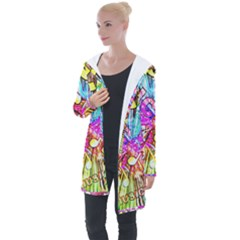 Music Abstract Sound Colorful Longline Hooded Cardigan by Bajindul