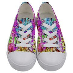 Music Abstract Sound Colorful Kids  Low Top Canvas Sneakers