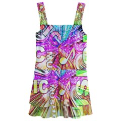 Music Abstract Sound Colorful Kids  Layered Skirt Swimsuit