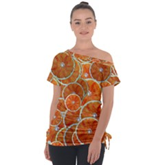 Oranges Background Texture Pattern Tie Up Tee by Bajindul