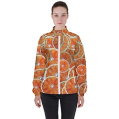 Oranges Background Texture Pattern Women s High Neck Windbreaker