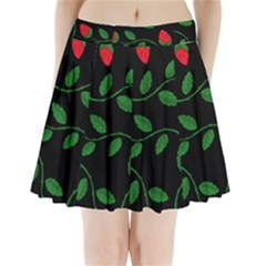 Roses Flowers Spring Flower Nature Pleated Mini Skirt by Bajindul