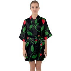 Roses Flowers Spring Flower Nature Quarter Sleeve Kimono Robe by Bajindul