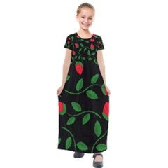 Roses Flowers Spring Flower Nature Kids  Short Sleeve Maxi Dress by Bajindul