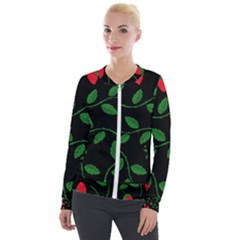 Roses Flowers Spring Flower Nature Velour Zip Up Jacket