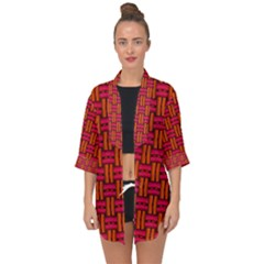 Pattern Red Background Structure Open Front Chiffon Kimono by Bajindul