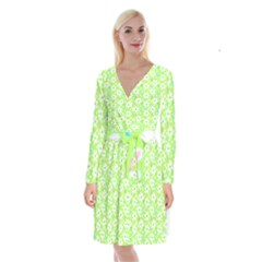 Zephyranthes Candida White Flowers Long Sleeve Velvet Front Wrap Dress