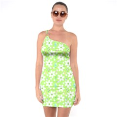 Zephyranthes Candida White Flowers One Soulder Bodycon Dress