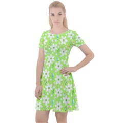 Zephyranthes Candida White Flowers Cap Sleeve Velour Dress