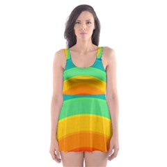 Rainbow Background Colorful Skater Dress Swimsuit