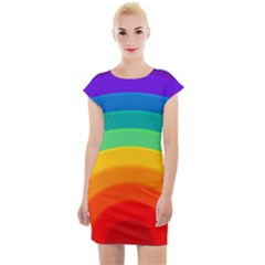 Rainbow Background Colorful Cap Sleeve Bodycon Dress