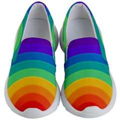 Rainbow Background Colorful Kids  Lightweight Slip Ons by Bajindul