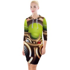 Sport Ball Tennis Golf Football Quarter Sleeve Hood Bodycon Dress by Bajindul