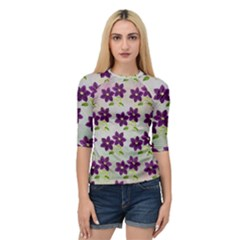 Purple Flower Quarter Sleeve Raglan Tee by Bajindul