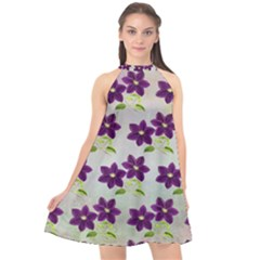 Purple Flower Halter Neckline Chiffon Dress