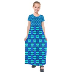 Pattern Graphic Background Image Blue Kids  Short Sleeve Maxi Dress by Bajindul