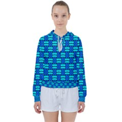 Pattern Graphic Background Image Blue Women s Tie Up Sweat by Bajindul