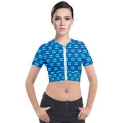 Pattern Graphic Background Image Blue Short Sleeve Cropped Jacket by Bajindul