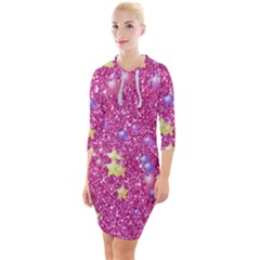 Stars On Sparkling Glitter Print,pink Quarter Sleeve Hood Bodycon Dress by MoreColorsinLife