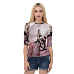 Wonderful Dark Mermaid Sitting On A Tree Quarter Sleeve Raglan Tee by FantasyWorld7