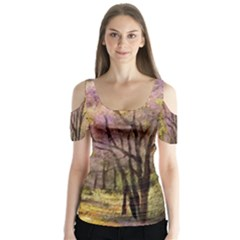 Outdoor Nature Natural Woods Butterfly Sleeve Cutout Tee  by Pakrebo