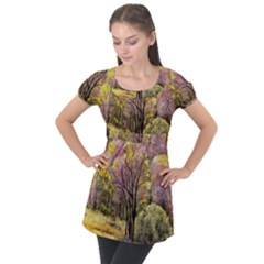 Outdoor Nature Natural Woods Puff Sleeve Tunic Top