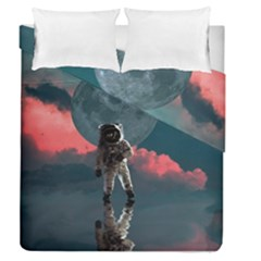 Astronaut Moon Space Planet Duvet Cover Double Side (queen Size) by Pakrebo