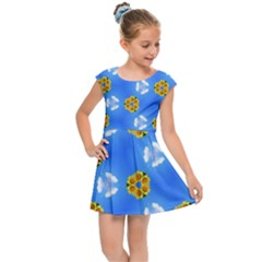Pattern Sequence Motif Design Plan Flowers Kids  Cap Sleeve Dress