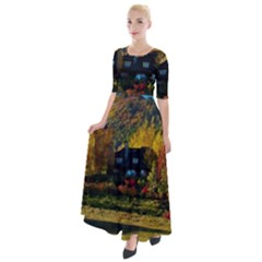 Outdoor Landscape Scenic View Half Sleeves Maxi Dress