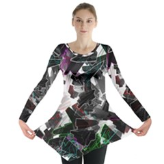 Abstract Background Science Fiction Long Sleeve Tunic