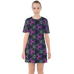 Background Wallpaper Pattern Sixties Short Sleeve Mini Dress