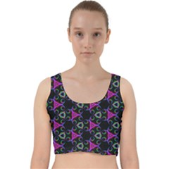 Background Wallpaper Pattern Velvet Racer Back Crop Top