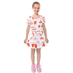 Petroglyph Art Symbols Art Rock Kids  Short Sleeve Velvet Dress