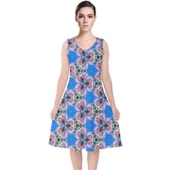 Pattern Sequence Motif Design Plan Floral V Neck Midi Sleeveless Dress