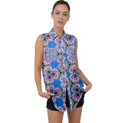 Pattern Sequence Motif Design Plan Floral Sleeveless Chiffon Button Shirt