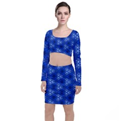 Background Wallpaper Pattern Blue Top And Skirt Sets