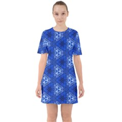 Background Wallpaper Pattern Blue Sixties Short Sleeve Mini Dress