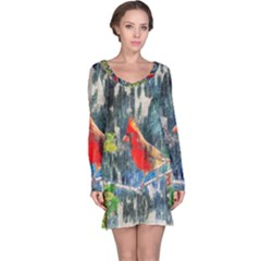 Texture Art Decoration Abstract Bird Nature Long Sleeve Nightdress by Pakrebo