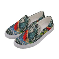 Texture Art Decoration Abstract Bird Nature Women s Canvas Slip Ons by Pakrebo