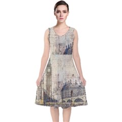 London Westminster Bridge Building V Neck Midi Sleeveless Dress