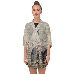London Westminster Bridge Building Half Sleeve Chiffon Kimono
