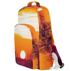 Sun Evening Sunset Sky Landscape Double Compartment Backpack