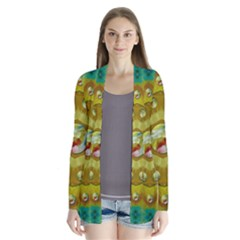 Mandala In Peace And Feathers Drape Collar Cardigan by pepitasart