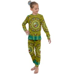 Mandala In Peace And Feathers Kids  Long Sleeve Set  by pepitasart