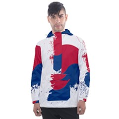 Flag Map Of South Korea Men s Front Pocket Pullover Windbreaker