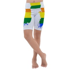 Lgbt Flag Map Of South Korea Kids  Lightweight Velour Cropped Yoga Leggings by abbeyz71