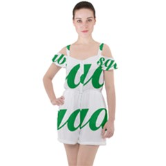 Logo Of Ashgabat Ruffle Cut Out Chiffon Playsuit by abbeyz71