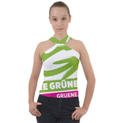 Logo Of Austrian Green Party Cross Neck Velour Top