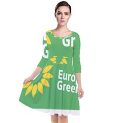 Logo Of The European Green Party Quarter Sleeve Waist Band Dress by abbeyz71